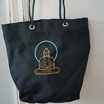 Vintage Shawna Christy Black Canvas Buddha Tote Bag Photo