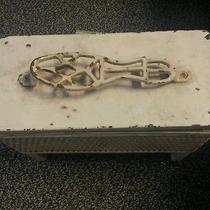 Vintage Shoe Shine Box With Cast Iron Foot Rest and Wicker Framed Wood  Photo