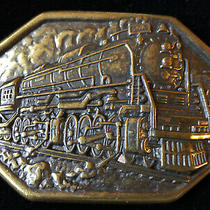 Vintage Signed Avon 1985 Locomotive Brass Tone Belt  Buckle Photo