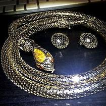 Vintage Signed Whiting & Davis Gold Topaz Snake Belt Size M & Earrings Iob Photo