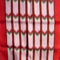 Vintage Silk Scarf Red Chevron Print Anne Klein 1980s Photo