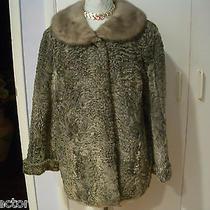 Vintage Silver Curly Persian Lamb Jacket Coat by Saks Fur Company Mink Collar M Photo