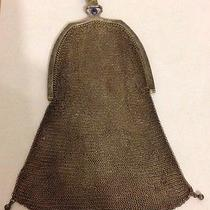 Vintage Silver Tone Mesh Purse Bag - Sapphire Stone Clasp - Whiting & Davis Photo