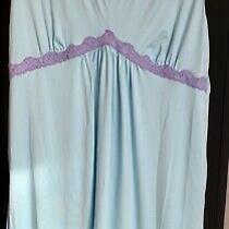 Vintage Size 2xt Nightgown Lingerie  Blue W/purple Empire Waist  Avon Intimates Photo