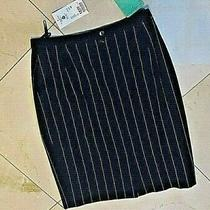 Vintage Skirt 40(10) Escada Black White Stripe Knee Lined Wool 380 Germany Nwt Photo