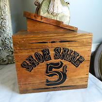 Vintage Solid Wood Shoe Shine Box  Photo