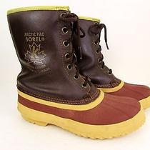 Vintage Sorel Artic Pac Brown Rubber & Leather Winter Boots 8 Photo