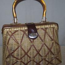 Vintage Spilene Inc Fancy Weave Wicker & Leather Handbag/purse Acrylic Handle   Photo
