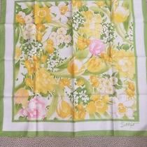 Vintage Square Scarf 80s Sm Kent for Avon Yellow & Green Spring Floral Wrap Photo