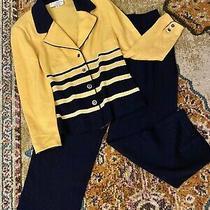 Vintage St. John Collection Marie Gray Knit Blazer & Pants Set Yellow/blue Sz 12 Photo