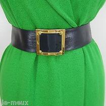 Vintage St John Nwot Adjustable Charcoal Leather Enamel Gold Tone Buckle Belt S  Photo