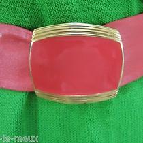 Vintage St John Nwot Adjustable Pink Leather Enamel Gold Tone Buckle Belt S  Photo