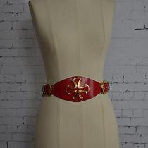 Vintage St John Red Leather / Gold Chain Belt // Vintage Designer Belt Photo