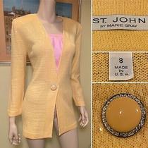 Vintage St John Size 8 Yellow Sequin Santana Stretch-Knit Long Blazer Jacket Photo