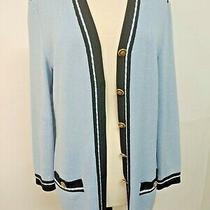 Vintage St John Size Medium Blue Santana Stretch-Knit Long Blazer Sweater Photo