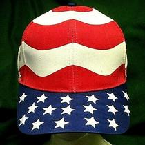 Vintage Stars & Stripes Trucker Cap Hat Embroidered Red White & Blue Nwot Photo