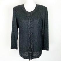 Vintage Stenay Black Beaded Silk Jacket Small Evening Formal Sparkle Glam Shine Photo