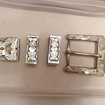 Vintage Sterling Silver a L C Guadalajara Ranger Belt Buckle Set  Photo