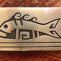 Vintage Sterling Silver Hopi Native American Fish Belt Buckle  Photo