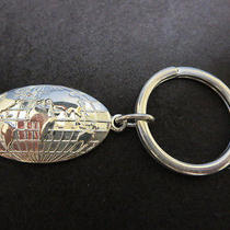 Vintage Sterling Silver t&co. Oval Globe Tag Key Ring With Bag Photo