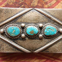 Vintage Sterling Silver Turquoise Native American Hand Made Western Belt Buckle Photo