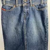 Vintage Stone Washed Guess Made in Mexico Denim a Line Skirt Size 27 Photo