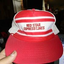 Vintage  Striped Trucker Hat Snapback Mesh Red Star Express Lines Rare Photo