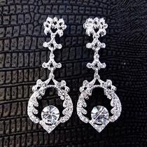 Vintage Style Bridal Chandelier Dangle Earrings Made With Swarovski Crystals Photo