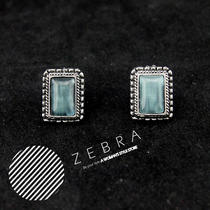 Vintage Style Faux Jade Aqua Blue Silver Lace Stud Earrings Photo