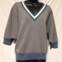 Vintage Style Lacoste Women's Batwing Sleeves Sweater/topsilver/blue Eu 38/us 6 Photo