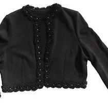 Vintage Style Size Small All Black Cardigan With Fancy Floral Trim & Rhinestones Photo