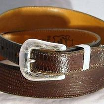Vintage Sunset Trails 3 Pc Sterling Silver Buckle Lucchese Leather Belt 28 300 Photo