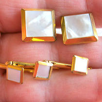 Vintage Swank Mother of Pearl Mop Tuxedo Formal Wear Button Stud Cufflink Set Photo