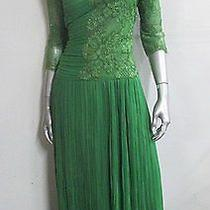 Vintage Sweet Pea Green Lace Fluted Cocktail Dress Sz L Photo
