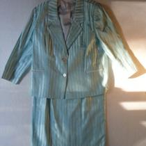 Vintage Tailor Made Ladies 2pc Aqua Blue Stripe Suit Lined Blazer & Skirt 14-16 Photo