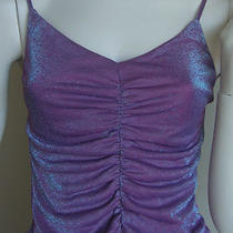 Vintage Tank Top Metallic Glitter Candy Ruched Pink Aqua Cami Disco S M Express Photo