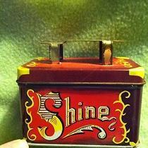 Vintage Tin Metal Shoe Shine 5cent Shine - Tin Only- Some Wear - Hinged Lid Photo