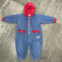 Vintage Toddler Romper 1990s Baby Gap Denim Blue Red Hoodie 18-24 Months Photo