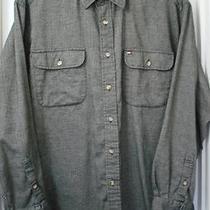 Vintage Tommy Hilfiger Black Long-Sleeve 100% Cotton Flannel Shirt Size-L Photo