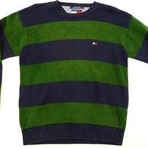 Vintage Tommy Hilfiger Blue Green Striped Cotton Medium Crew Neck Sweater Mint Photo