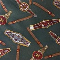 Vintage Tommy Hilfiger Green Silk Tie W Cigars Watches & Bracelets Print Photo