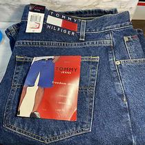 Vintage Tommy Hilfiger Jeans Big Flag Denim Blue Jean Shorts Men's Size 40 Nwt Photo