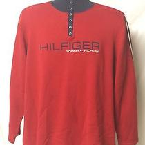Vintage Tommy Hilfiger Woman's Pearl Snap Collar Red Sweater Xl Photo