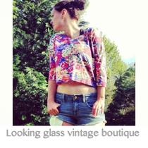 Vintage Top Boxy Slub Crop Floral  Old Express Tricot Revival Photo