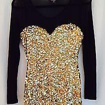 Vintage Topshop Gold Sequined Dress Photo