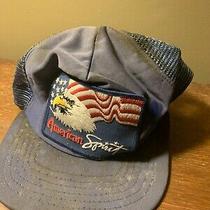 Vintage Trashed American Spirit Usa Bald Eagle Snapback Trucker Hat Cap Mesh Photo