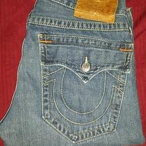 Vintage True Religion Billy Jeans Stitch Blue Row Seat 34 Amazing Shape  Photo