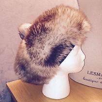 Vintage Tuscan Lamb Gray Red Tips Soft Pompom Hat Fur sz.l Photo