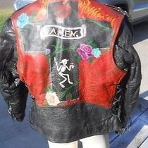 Vintage Unik Leather Motorcycle Jacket Skeleton Cross Rose Flames Artwork Harley Photo