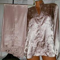 Vintage Unique Blush Pink 2 Tone Shimmering Soft L/s Pajama Set Lounge Wear Sz M Photo